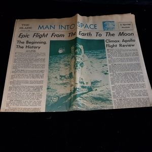 Newspaper from 1969 and man on the moon.